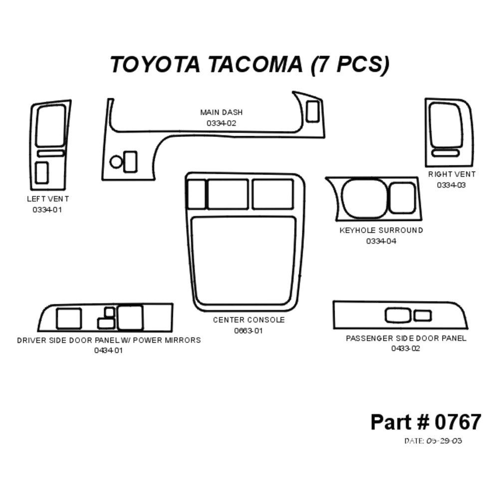 Sherwood Toyota Tacoma 2 Doors 2003 2d Standard Dash Kit