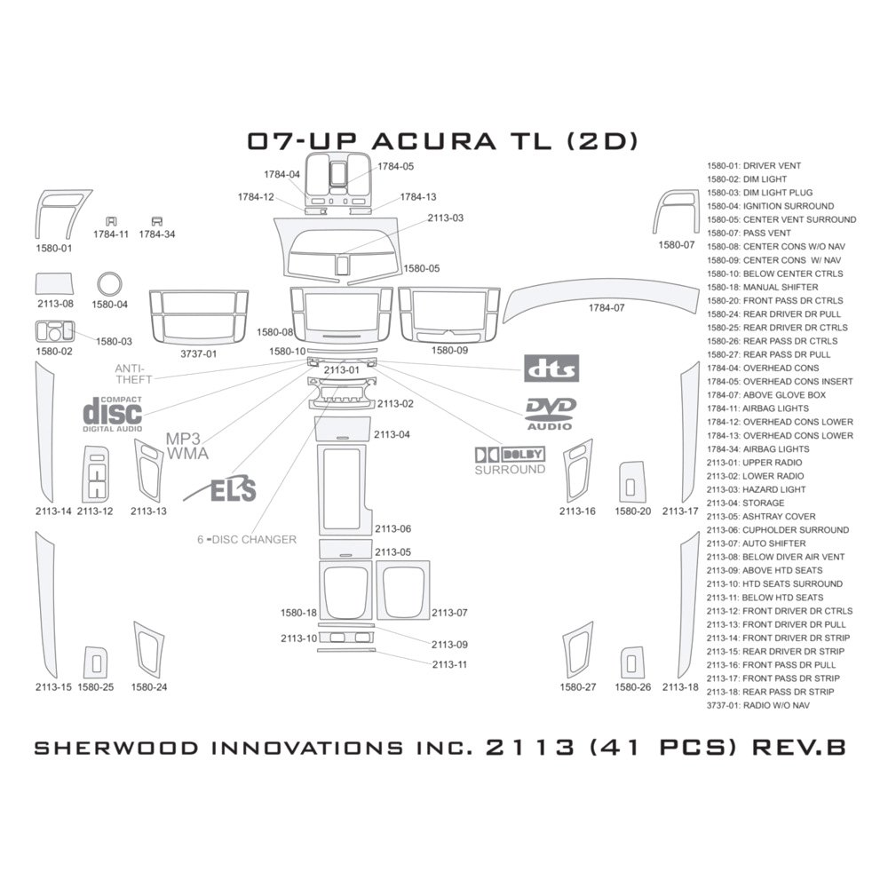 For Acura TL 07-08 Sherwood 2D Majestic Burl Wood Standard