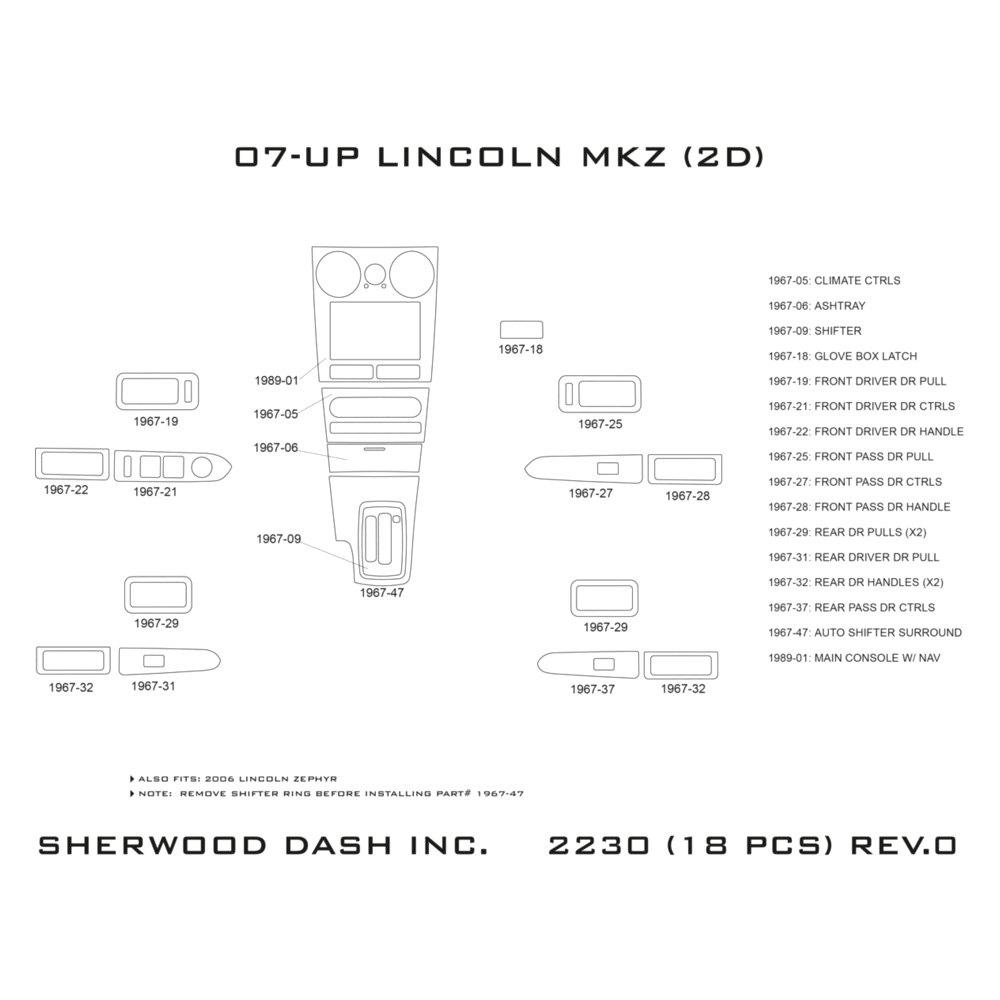 Sherwood® - Lincoln MKZ Automatic Transmission 2009 2D Small Dash Kit