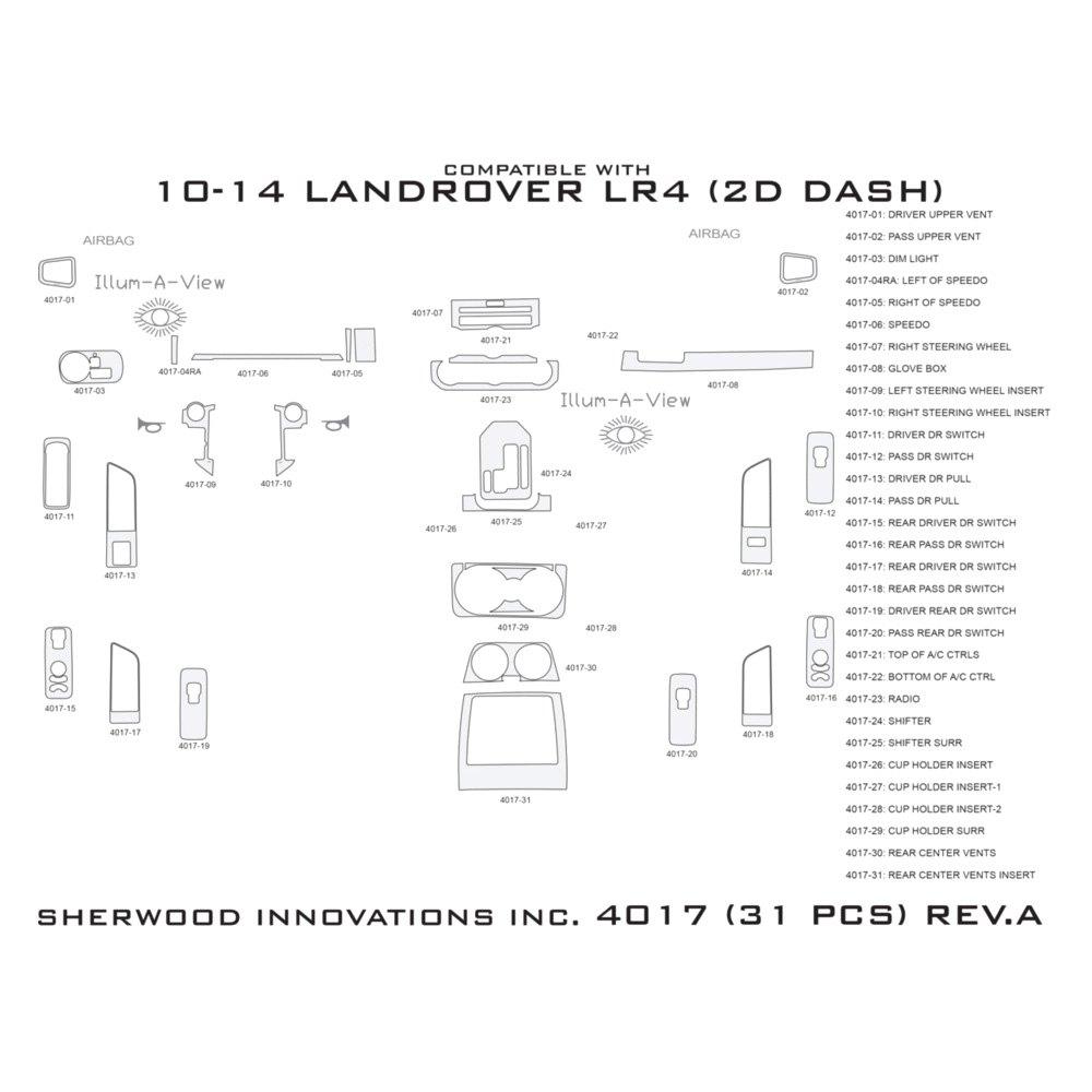 Land Rover LR4 2011 2D Standard Dash Kit