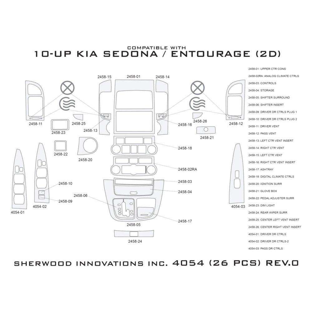 Sherwood Kia Sedona W O Factory Wood 2013 2d Standard Dash Kit
