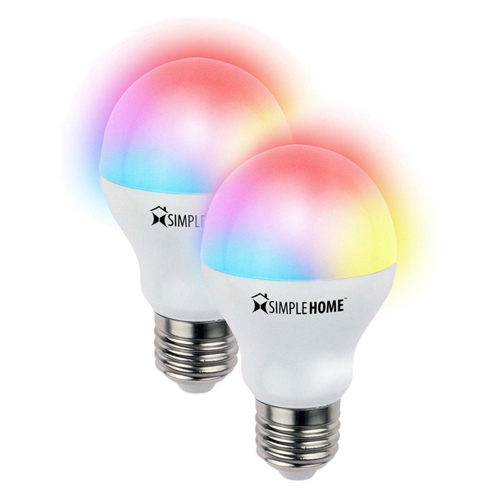Simple Home® XLB7-1002-PP1 - Multicolor Smart White Wi-Fi LED Bulb Set