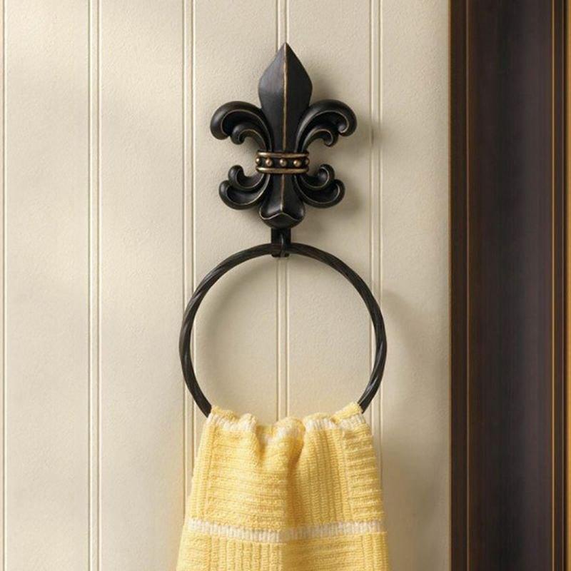 Smart living 10017729 accent plus fleur de lis style bath towel ring - Fleur de lis bath towels ...