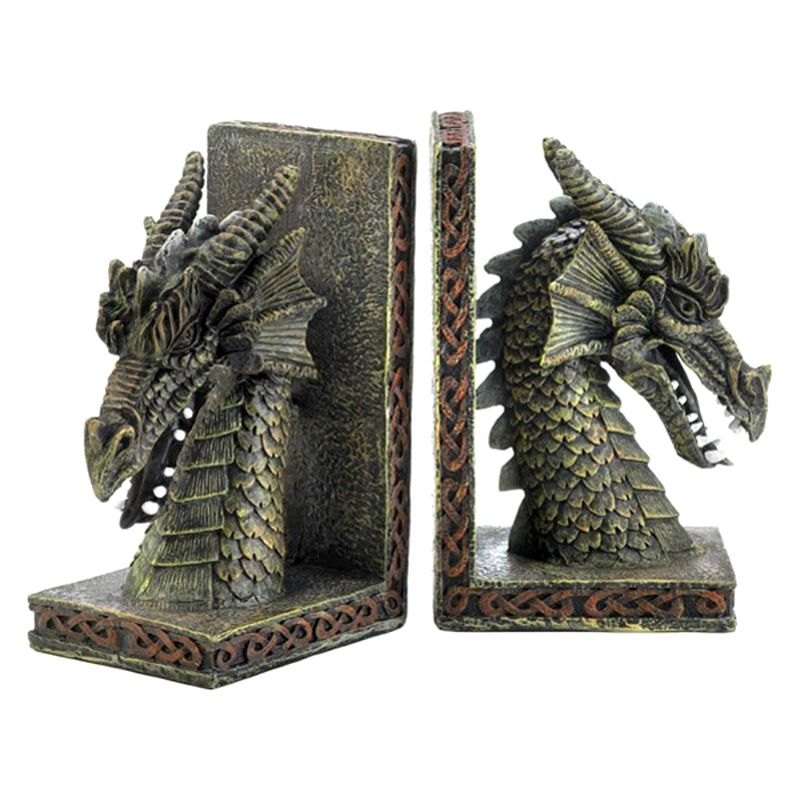 Smart living dragon crest bookends - Dragon bookend ...