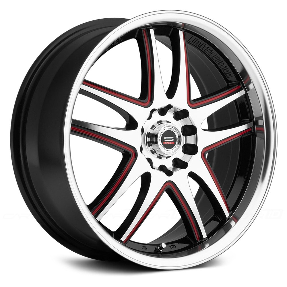 spec 1 sp 15 wheels gloss black with machined face lip and red accents rims. Black Bedroom Furniture Sets. Home Design Ideas