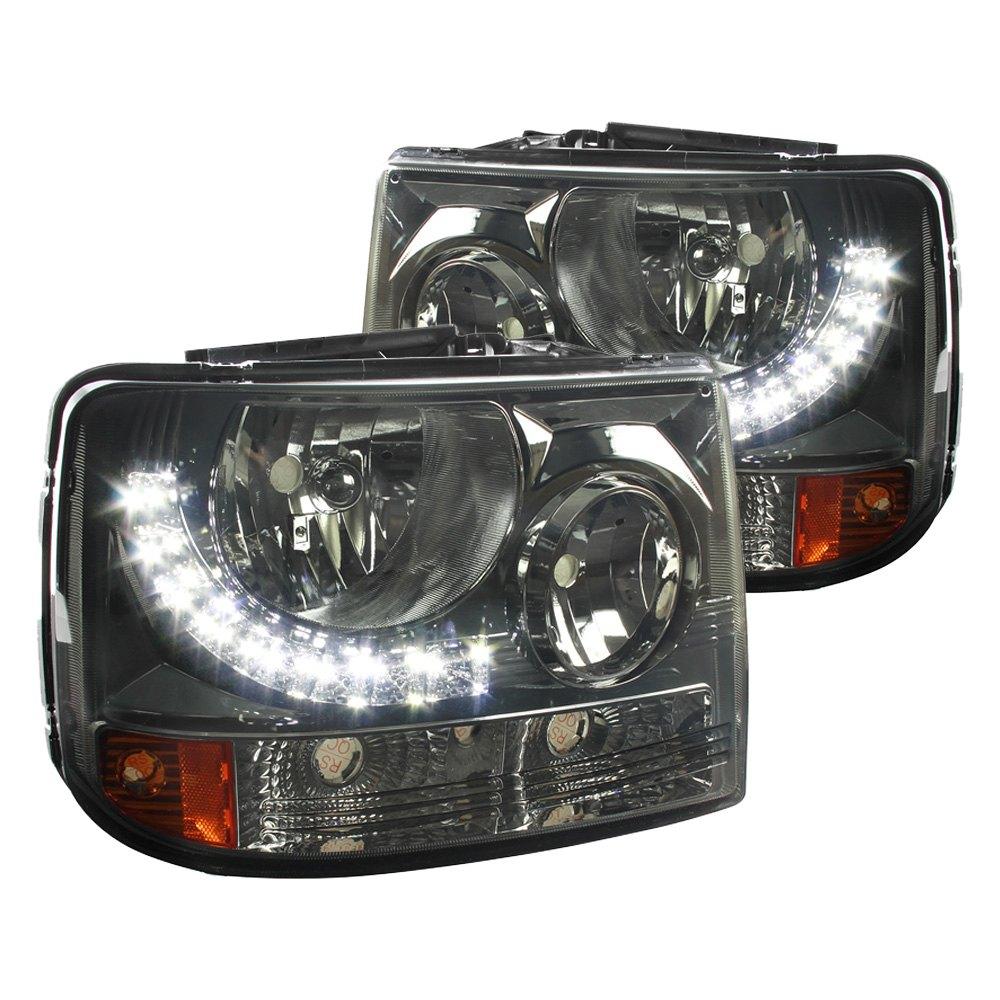 Spec D Chevy Silverado 1500 2500 3500 2002 Black Smoke Conversion Euro Headlights With Leds