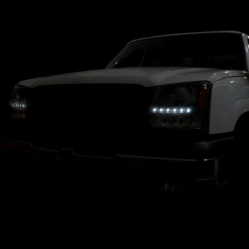 spec d chevy avalanche without body cladding 2002 2006 black projector led headlights. Black Bedroom Furniture Sets. Home Design Ideas