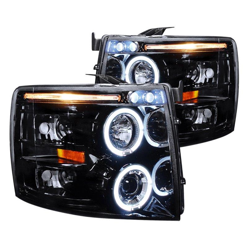 spec d chevy silverado 2011 black smoke dual halo projector led headlights. Black Bedroom Furniture Sets. Home Design Ideas