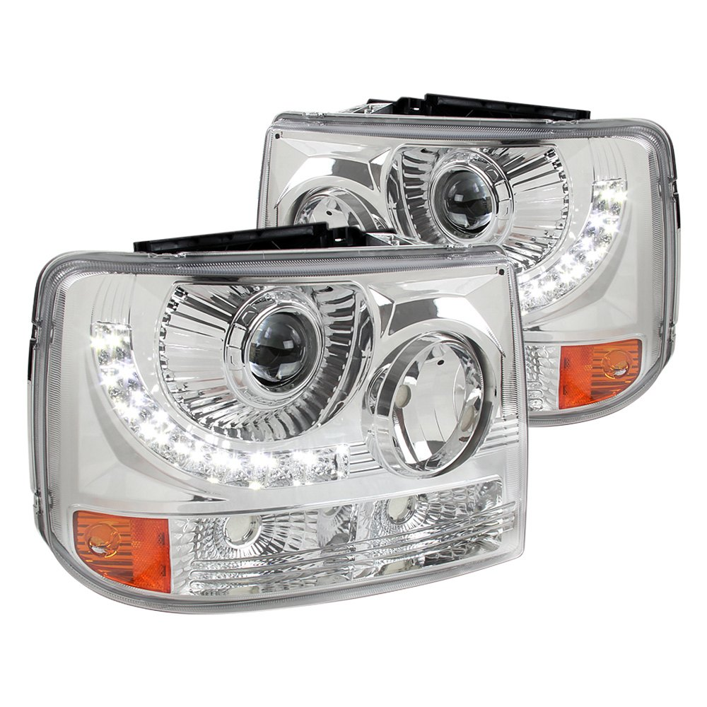 spec d chevy silverado 1999 2000 chrome conversion projector headlights with led drl. Black Bedroom Furniture Sets. Home Design Ideas