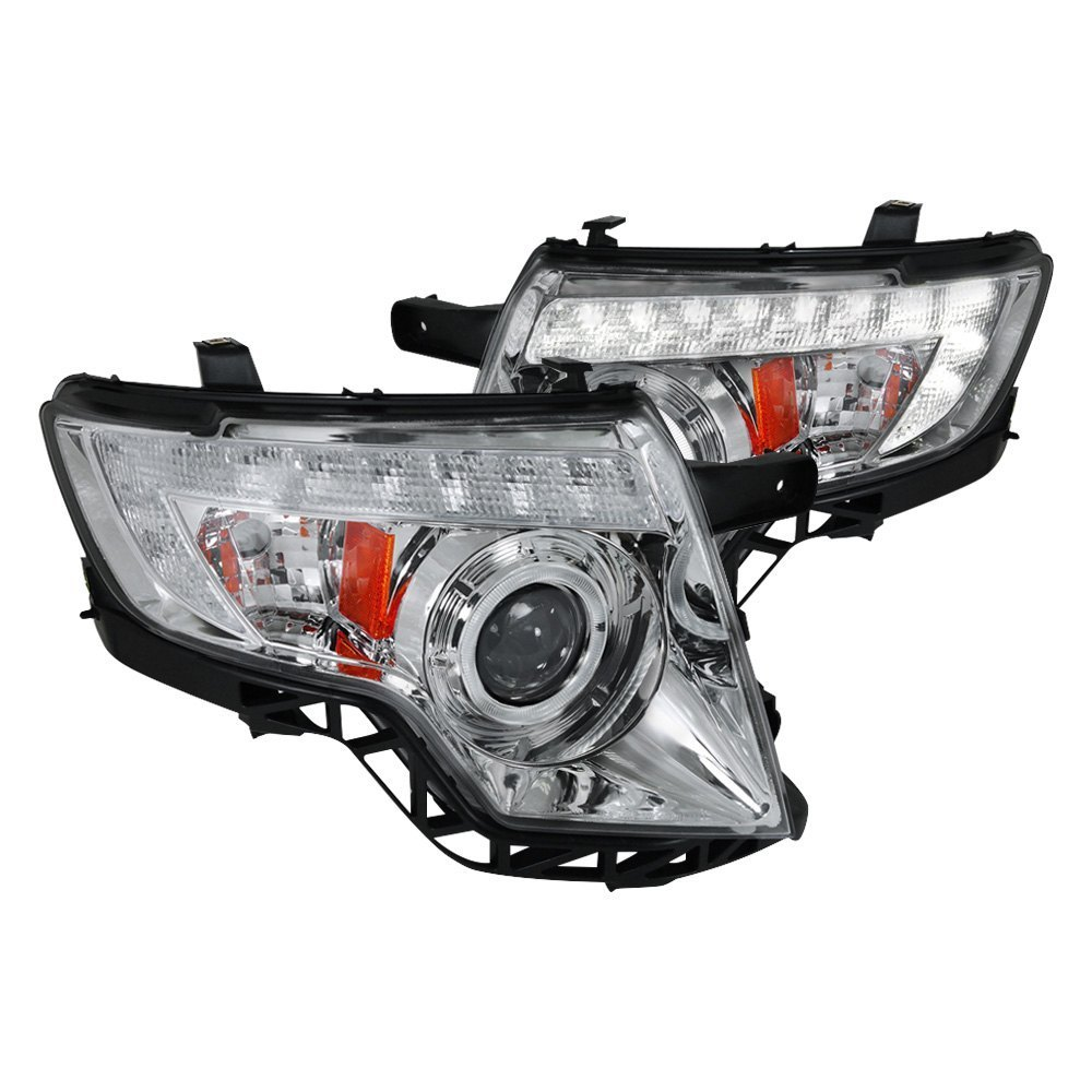 Spec D Chrome Halo Projector Headlights With Led Drl