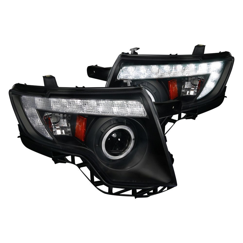 Spec D Black Halo Projector Headlights With Led Drl