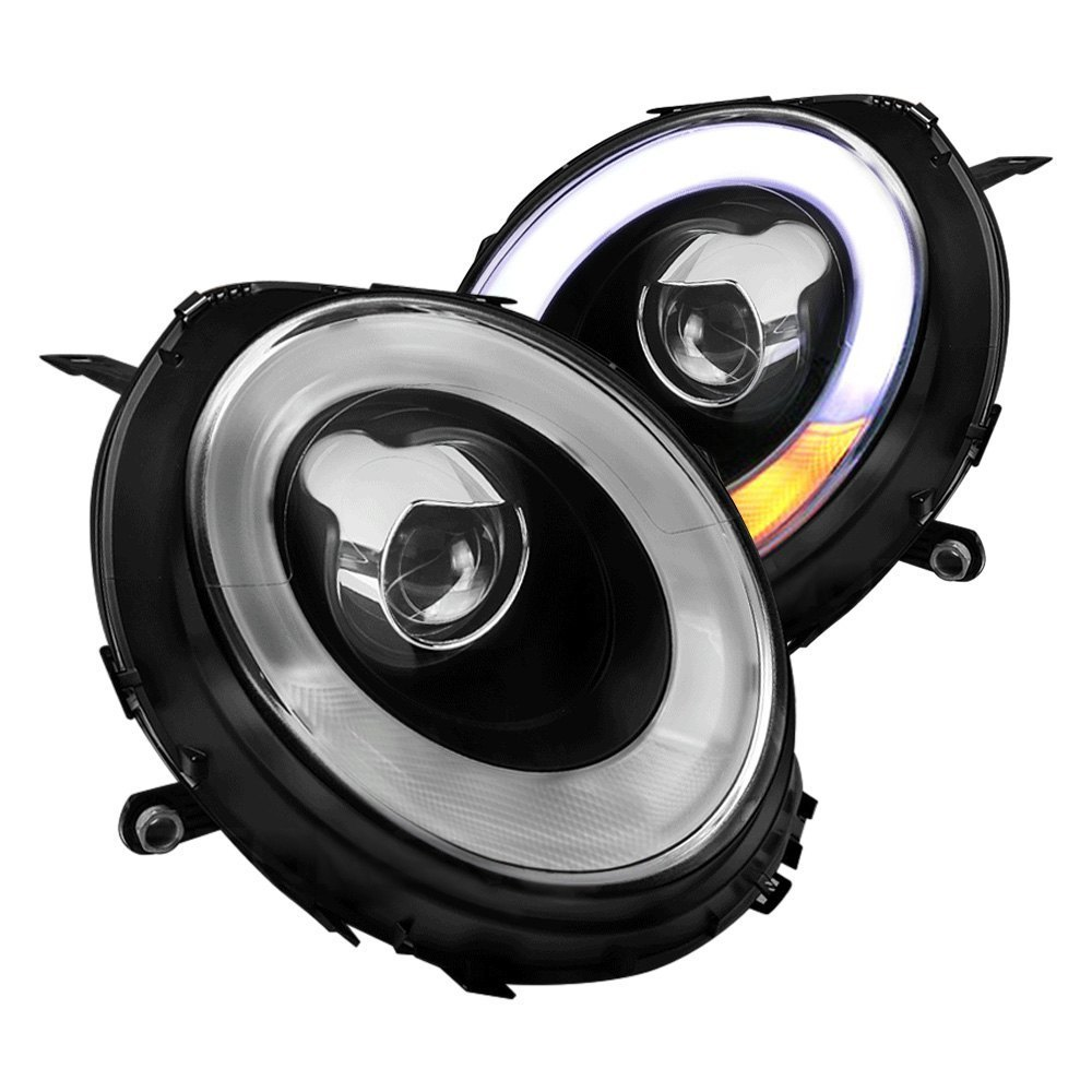 Spec-D® - Black/Smoke DRL Bar Projector Headlights with LED Turn Signal