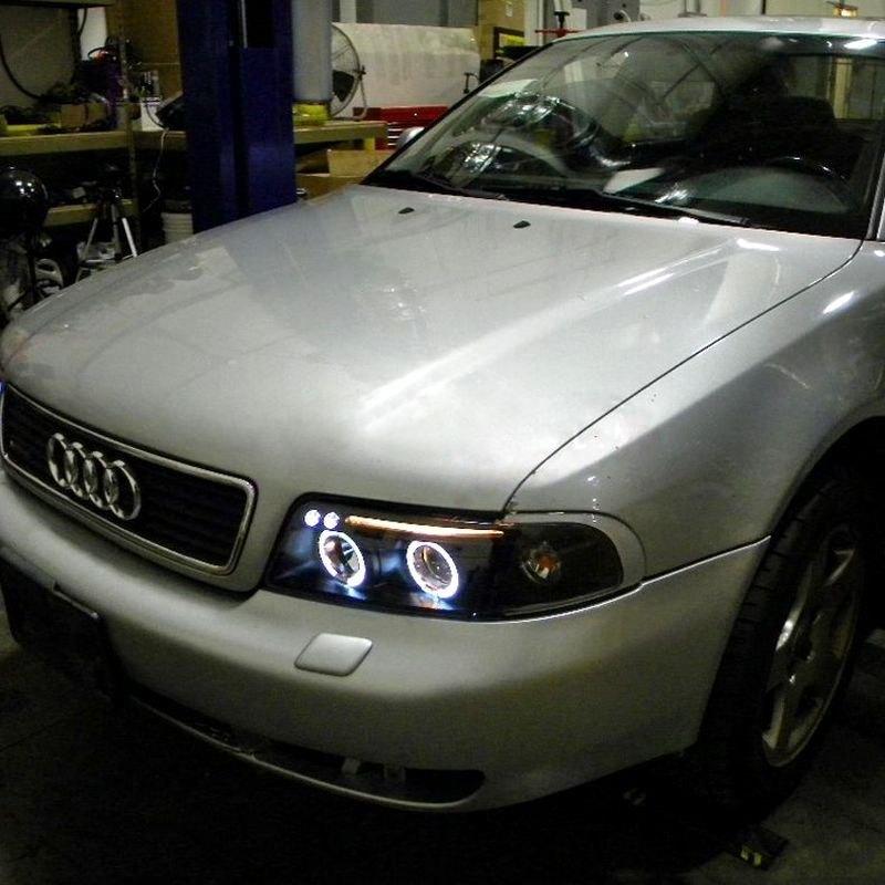 headlights audi projector style led euro drl black chrome