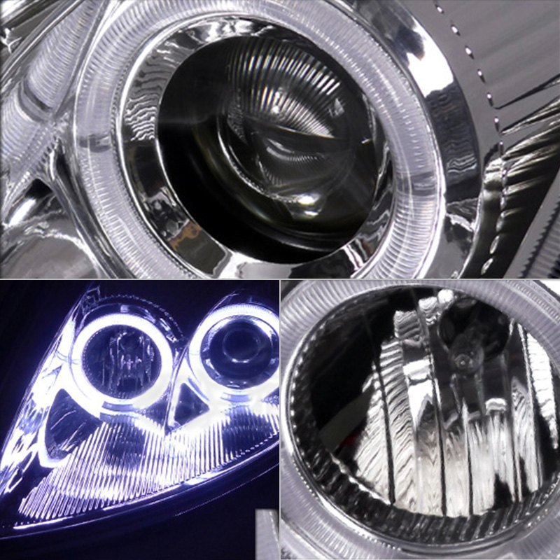 Spec D Mitsubishi Eclipse 2003 Chrome Dual Halo Projector Led Headlights