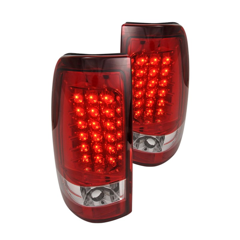 lt siv99rled tm chevy silverado 1999 chrome red led tail lights. Black Bedroom Furniture Sets. Home Design Ideas