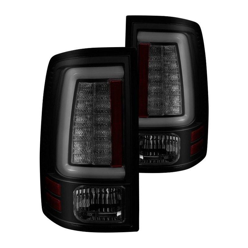 Spyder Dodge Ram 1500 2500 3500 With Factory Led Tail Lights 2014 Black Smoke Fiber Optic