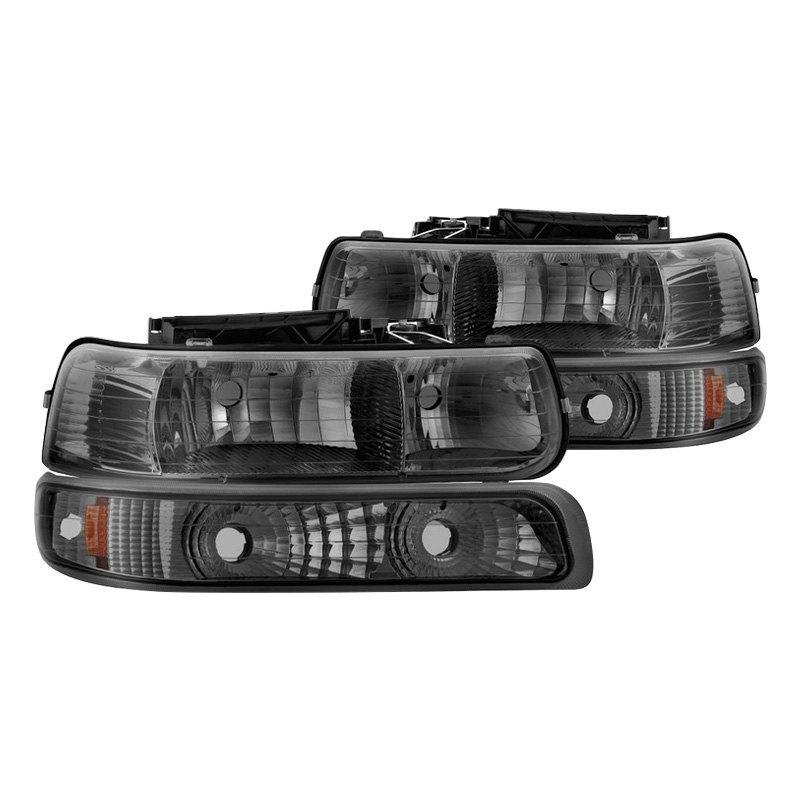 Spyder Chevy Silverado 1500 2000 Chrome Smoke Euro Headlights With Amber Per Lights