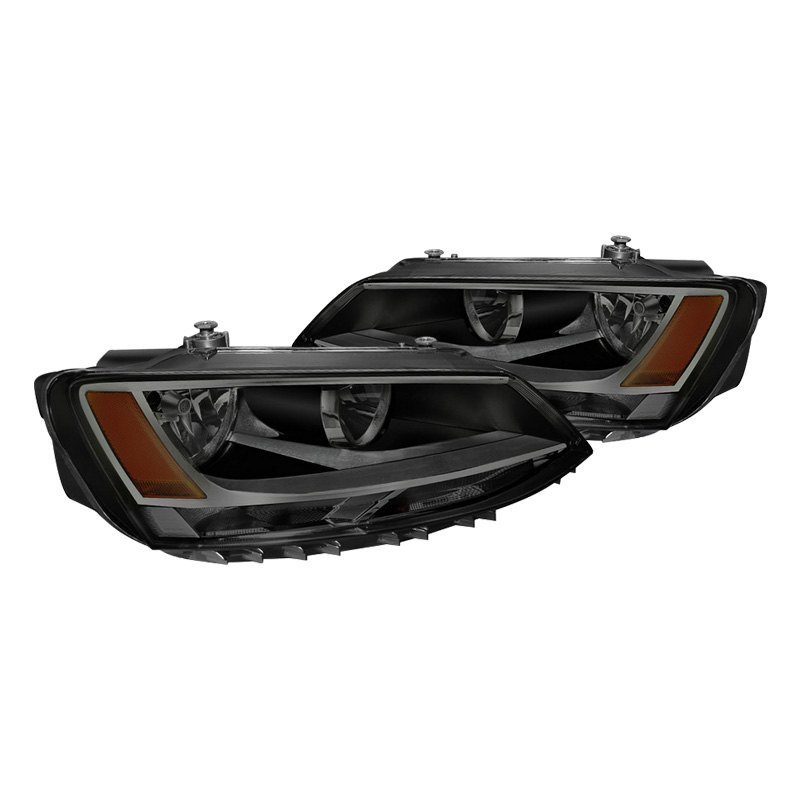 Spyder Volkswagen Jetta Sedan With Factory Halogen Headlights 2017 Black Smoke Style
