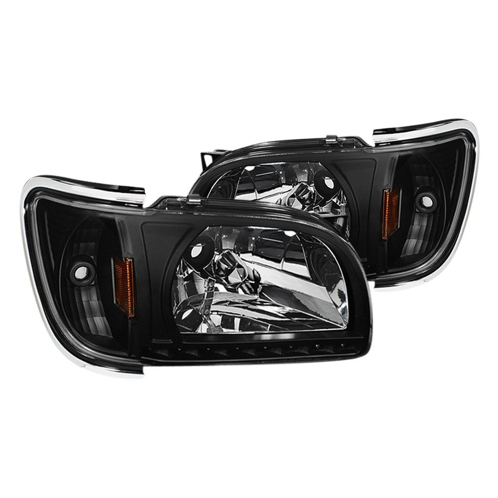 Spyder toyota tacoma 2001 black euro headlights with for Garage toyota lens