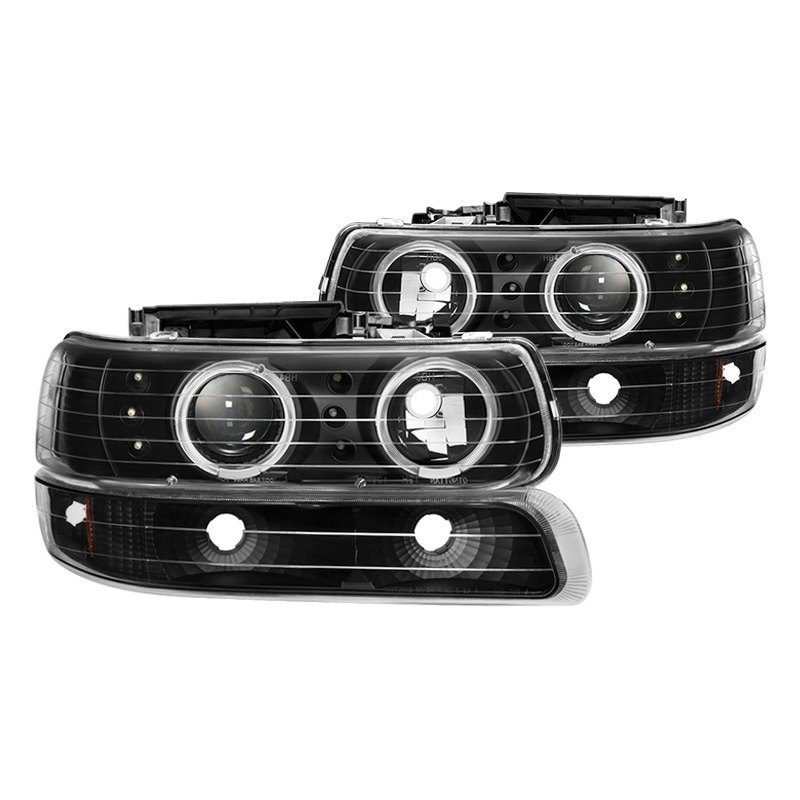 Spyder Chevy Sonora Tahoe Base Ls Lt 2000 Black Halo Projector Headlights With Per Lights