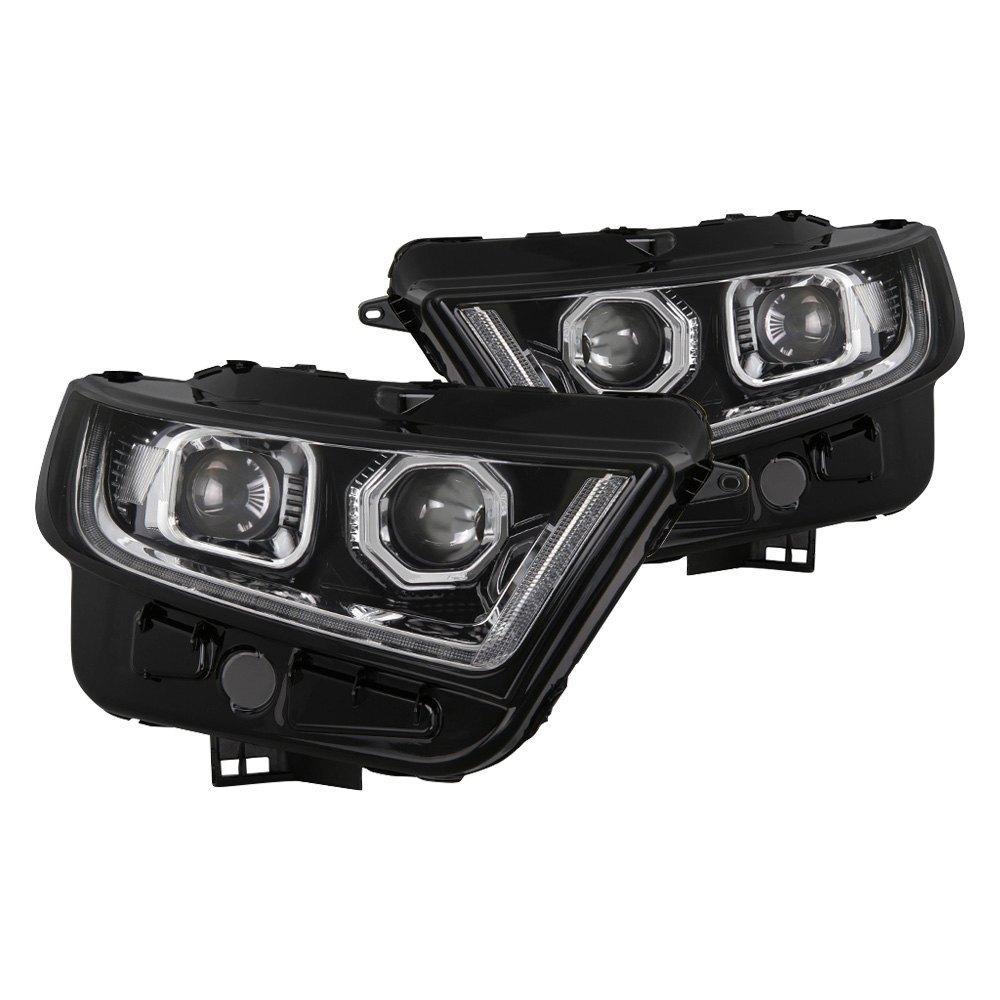 Spyder Black Led Drl Bar Projector Headlights