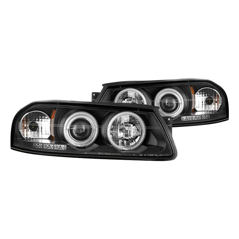 Spyder® - Black Halo Projector Headlights with LED DRL on