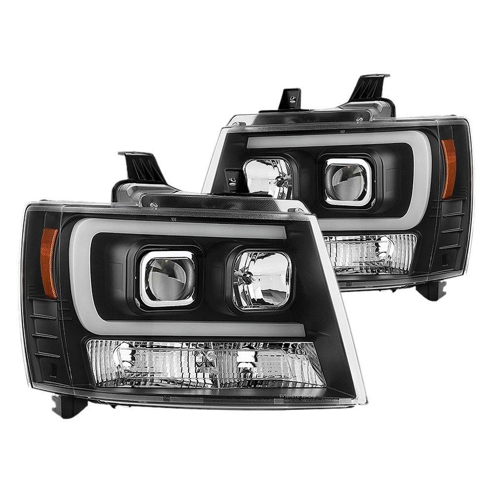 Spyder Pro Yd Csub07v2 Drl Bk Black Led Bar Projector Headlights 2013 Chevrolet Tahoe Headlight Wiring Schematic