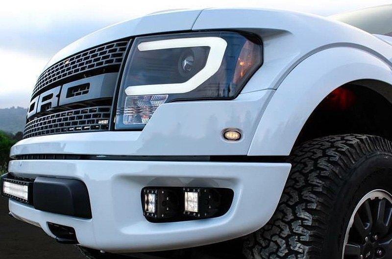 2014 F150 Headlights >> Spyder Black Led Drl Bar Projector Headlights