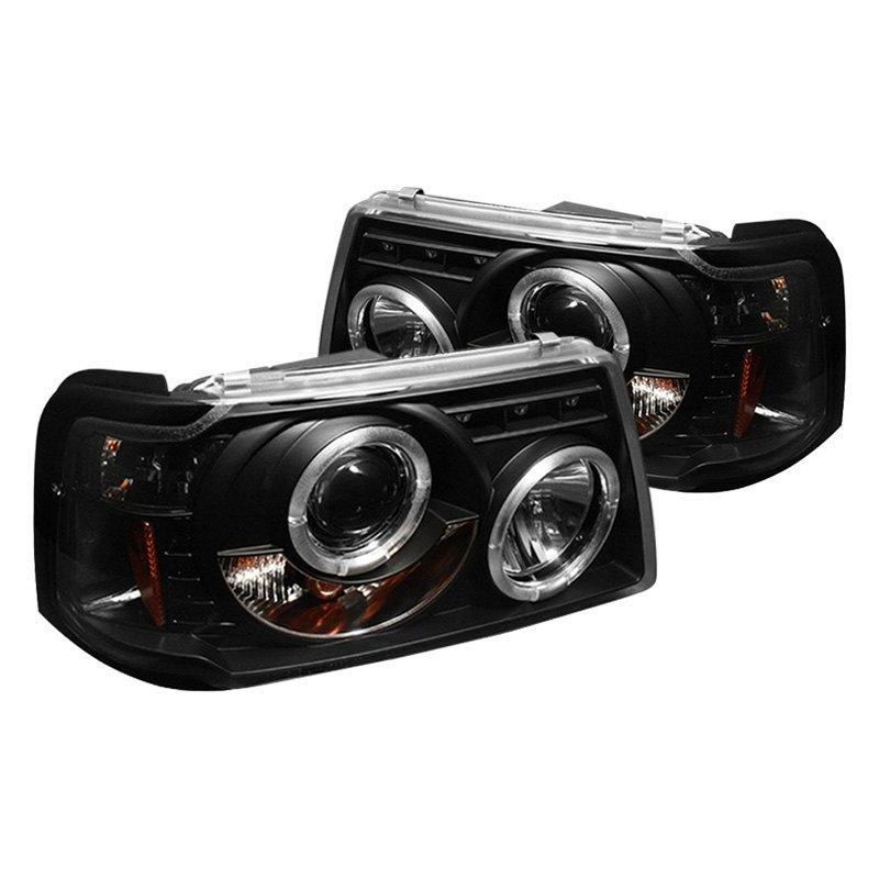 spyder pro yd fr01 1pc hl bk black halo projector headlights with parking leds spyder pro yd fr01 1pc hl bk black halo projector headlights with parking leds