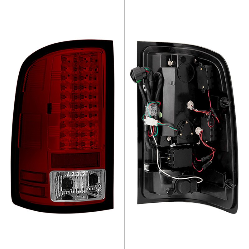 spyder gmc sierra 2007 chrome red led tail lights. Black Bedroom Furniture Sets. Home Design Ideas