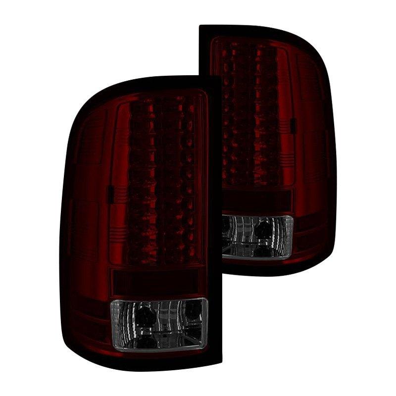 spyder gmc sierra 2013 chrome red smoke led tail lights. Black Bedroom Furniture Sets. Home Design Ideas