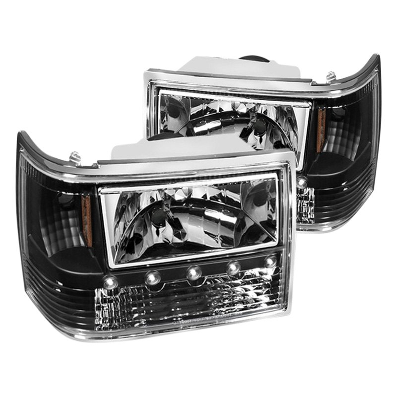 Spyder Jeep Grand Cherokee 1995 Black Led Euro Headlights