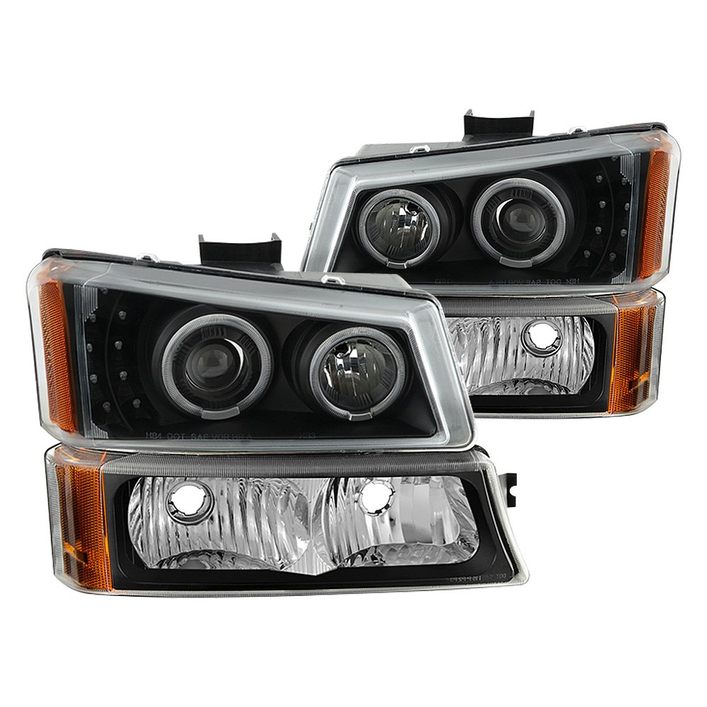 Spyder Chevy Silverado 2004 Black Halo Projector Led Headlights With Bumper Lights