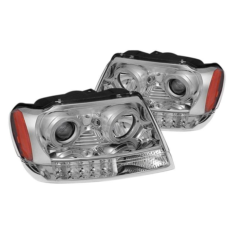 spyder jeep grand cherokee 2002 chrome halo projector led headlights. Black Bedroom Furniture Sets. Home Design Ideas