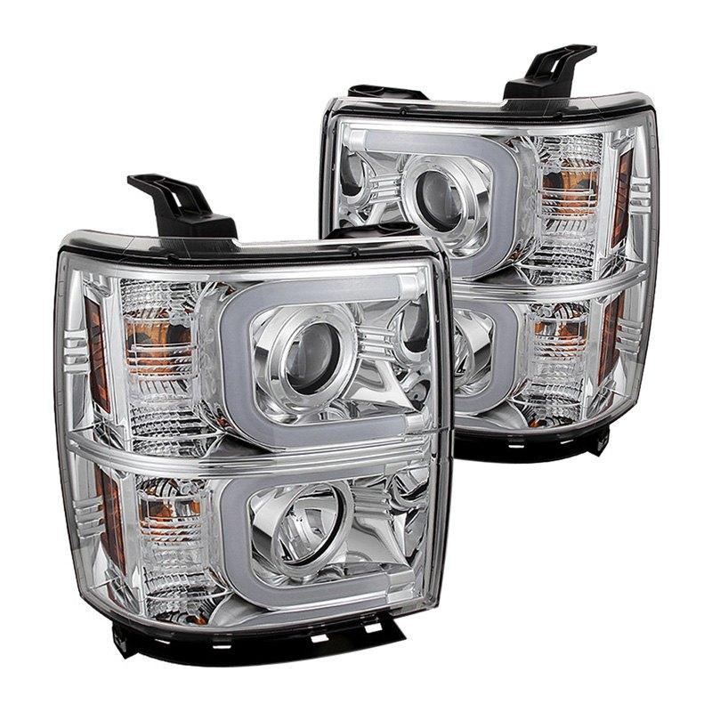 spyder chevy silverado 1500 2014 chrome led u bar projector headlights. Black Bedroom Furniture Sets. Home Design Ideas