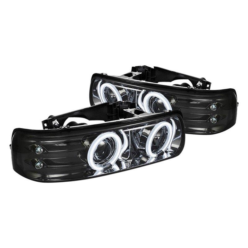 spyder chevy silverado 1500 2500 3500 2001 2002 black smoke halo projector led headlights. Black Bedroom Furniture Sets. Home Design Ideas