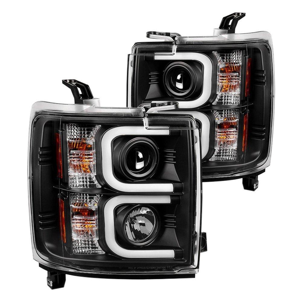 spyder chevy silverado 2015 black led u bar projector headlights. Black Bedroom Furniture Sets. Home Design Ideas