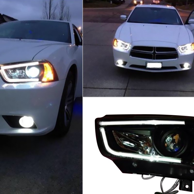 Dodge Performance Parts >> Spyder® - Dodge Charger 2011-2014 Black U-Bar Projector LED Headlights
