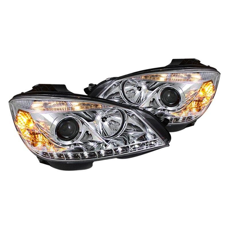 Spyder mercedes c class with factory halogen headlights for Mercedes benz c300 headlights