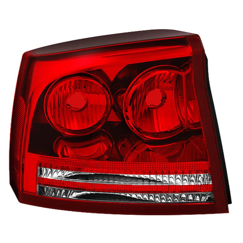 spyder dodge charger 2007 red clear oem style tail lights. Black Bedroom Furniture Sets. Home Design Ideas