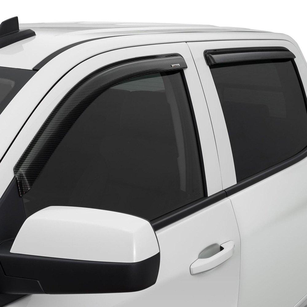 Chrome Window Vent Visors Rainguard Tap On For Dodge Ram: GMC Sierra 2015-2017 Tape-Onz™ Sidewind Deflectors