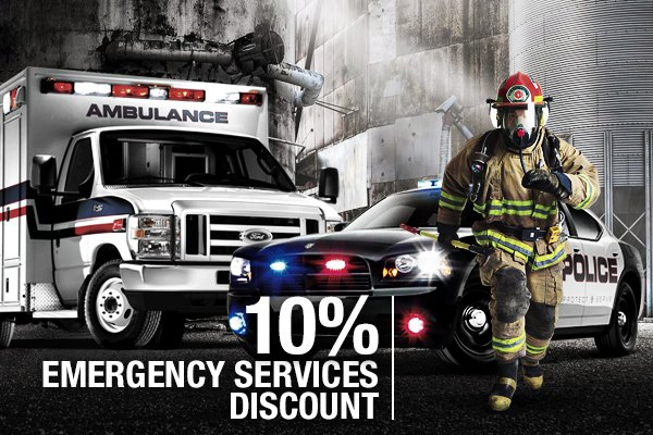 10% Emergency Services Discount for First Responders who always are the first who come to the rescue