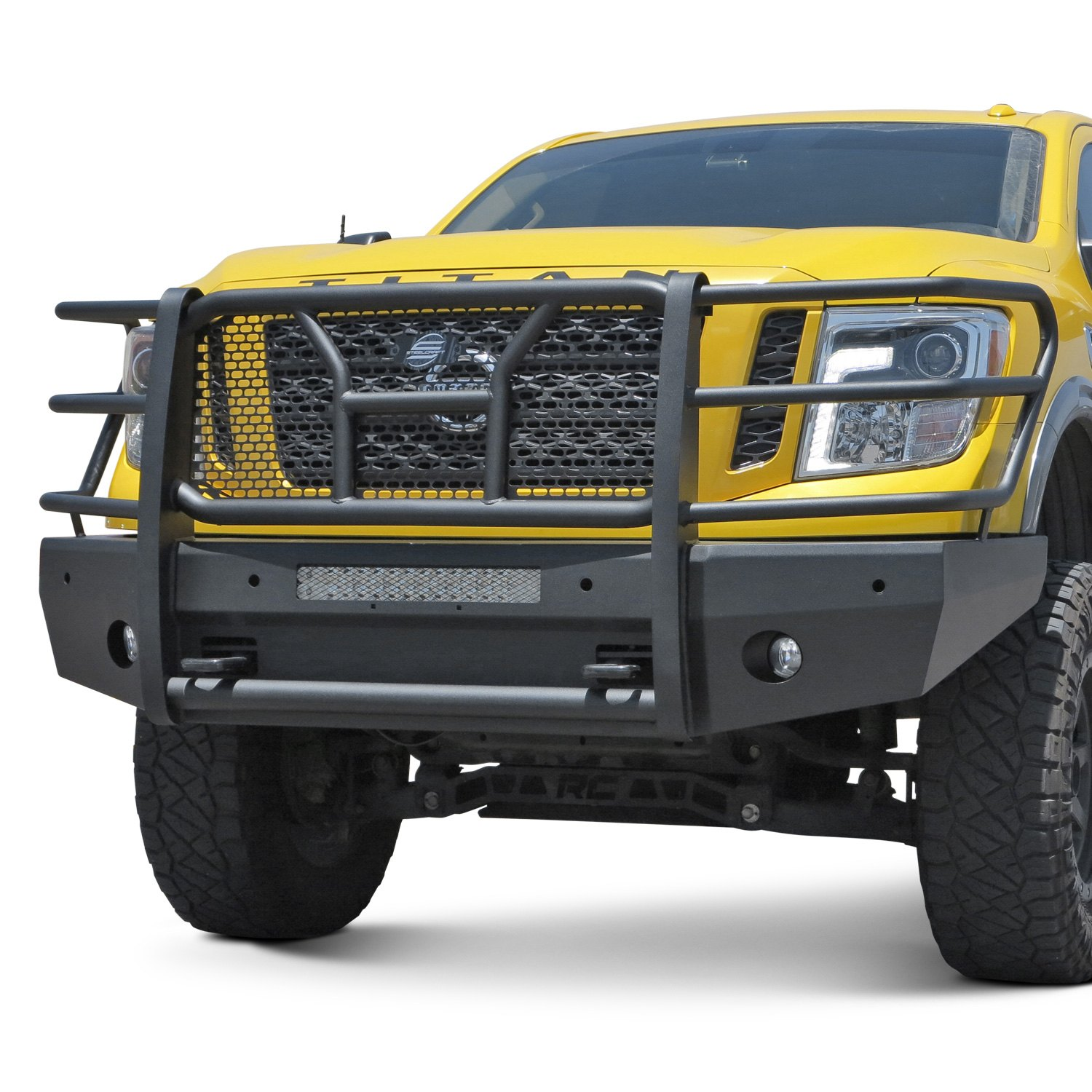 SteelCraft® - Elevation Series™ Full Width Black Front HD Bumper with Brush  Guard