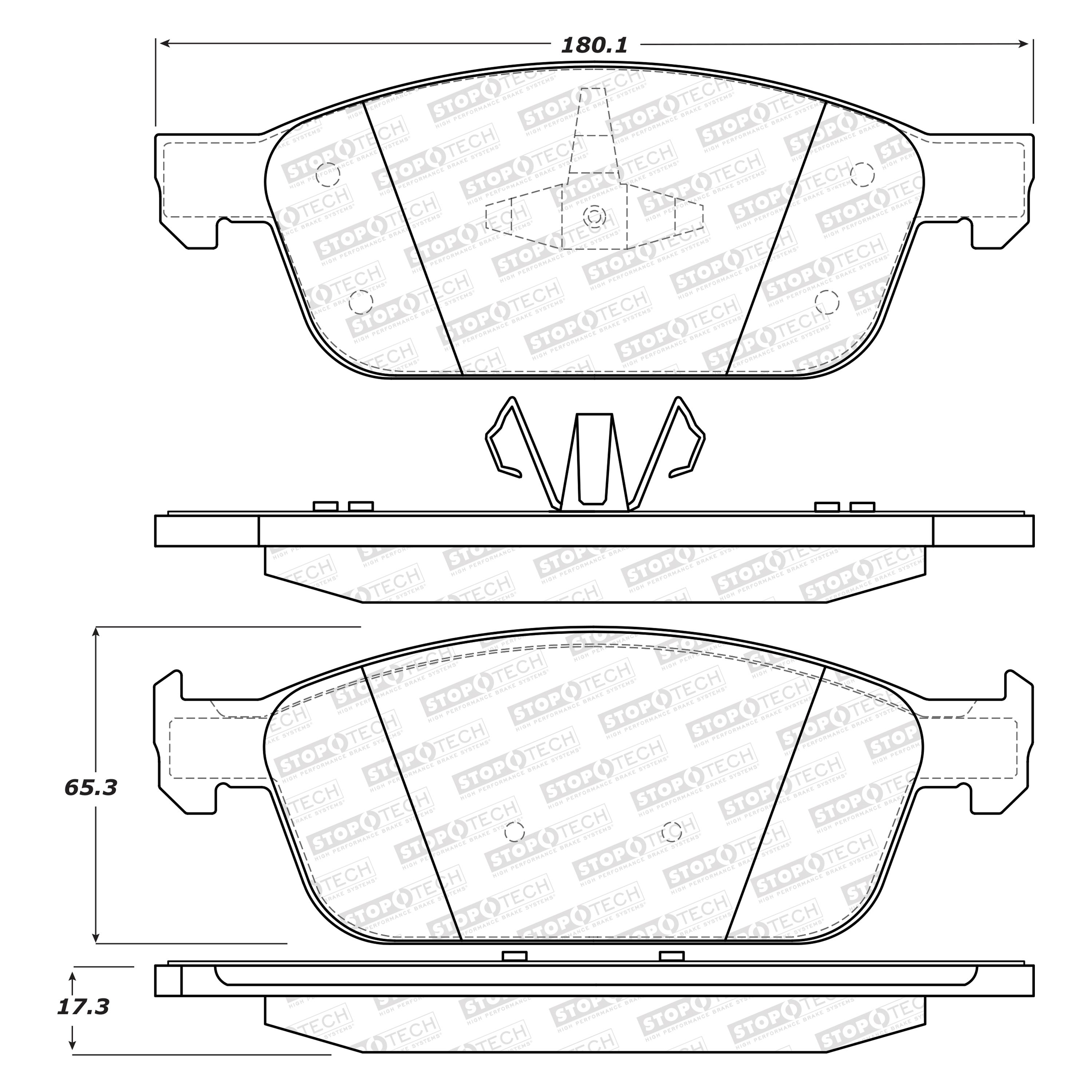 StopTech 308.16450 Street Brake Pads; Front with Shims and Hardware