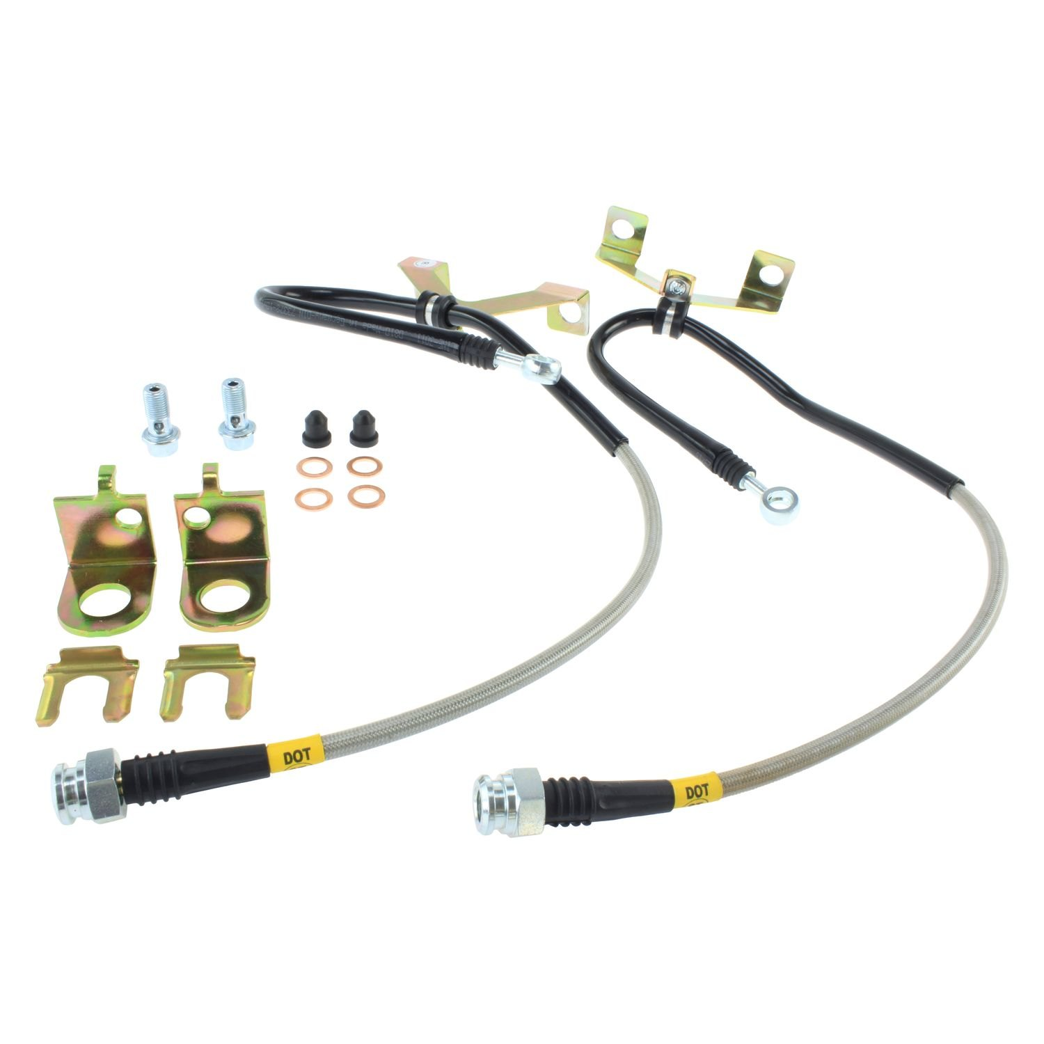 StopTech 950.45005 Stainless Steel Braided Brake Hose Kit Front Stainless Steel Braided Brake Hose Kit