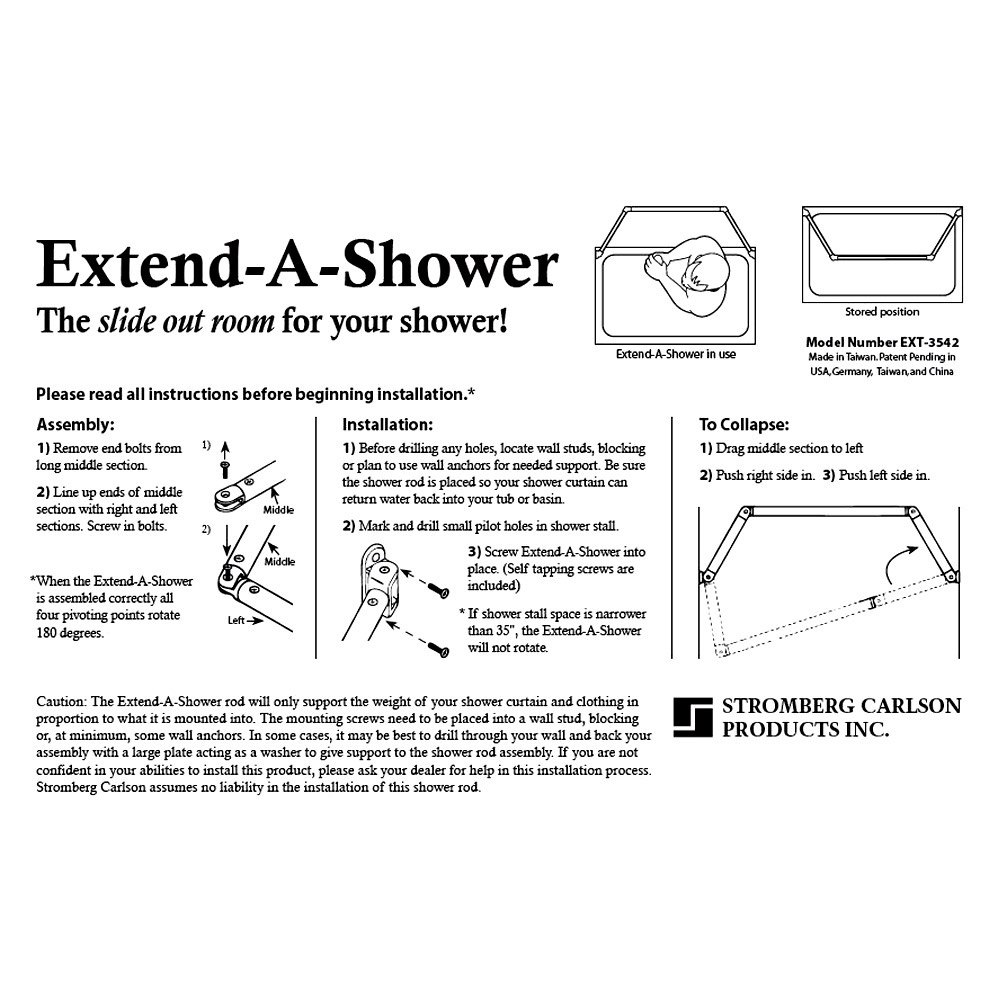 Stromberg Carlson® EXT-5460 - White Extend-A-Shower Curtain Rod
