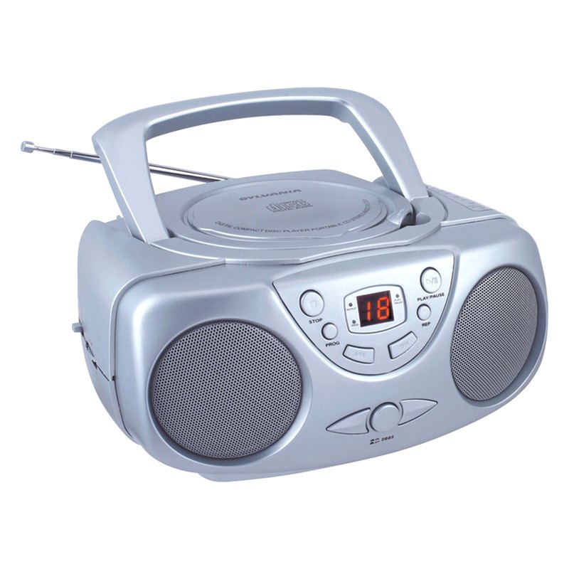 sylvania srcd243m silver portable cd radio boom box silver. Black Bedroom Furniture Sets. Home Design Ideas