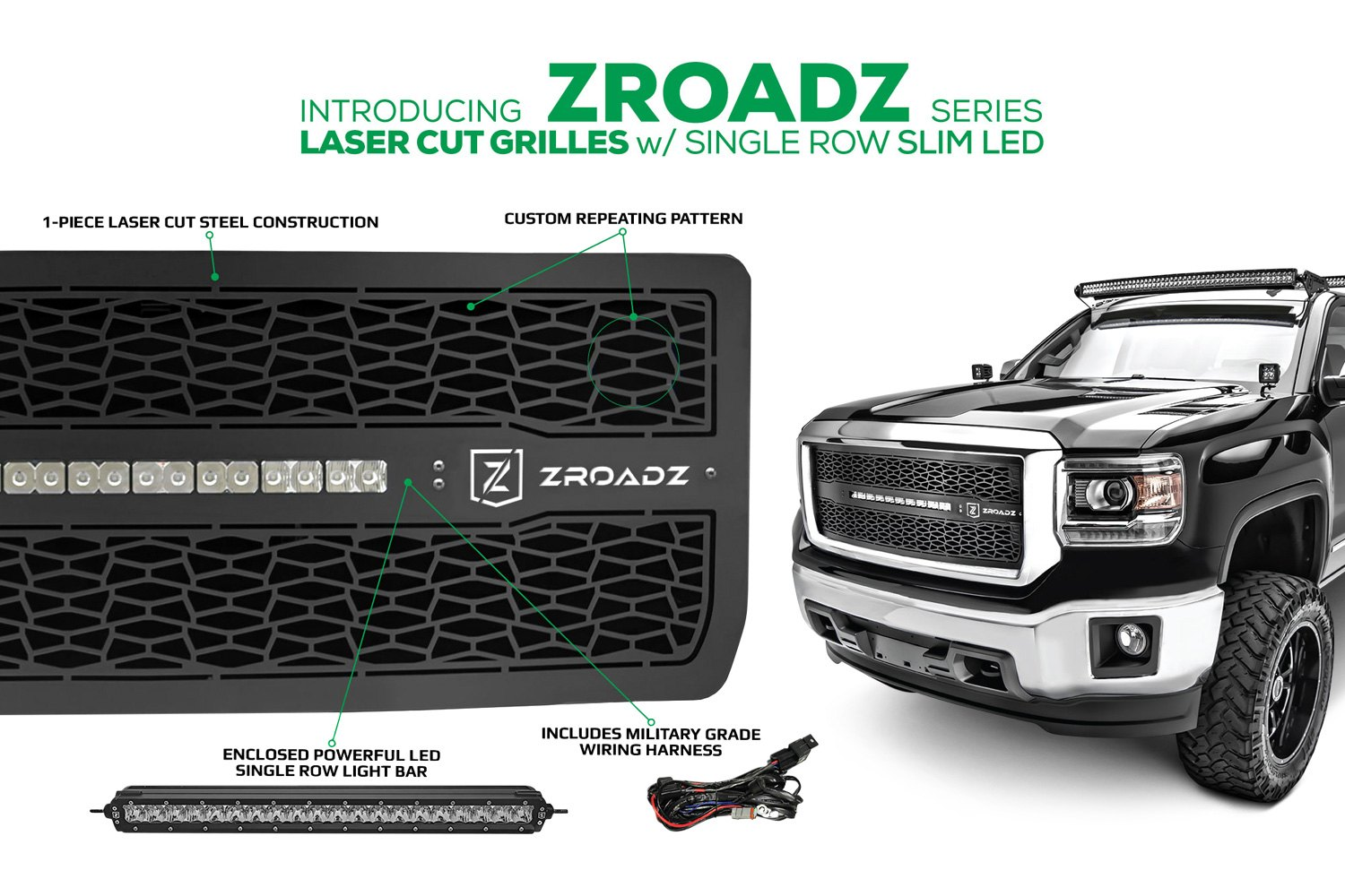 T Rex Z319641 Zroadz Series Black Cnc Machined Main Grille With 1 Wiring Harness Powder Coated Grillet