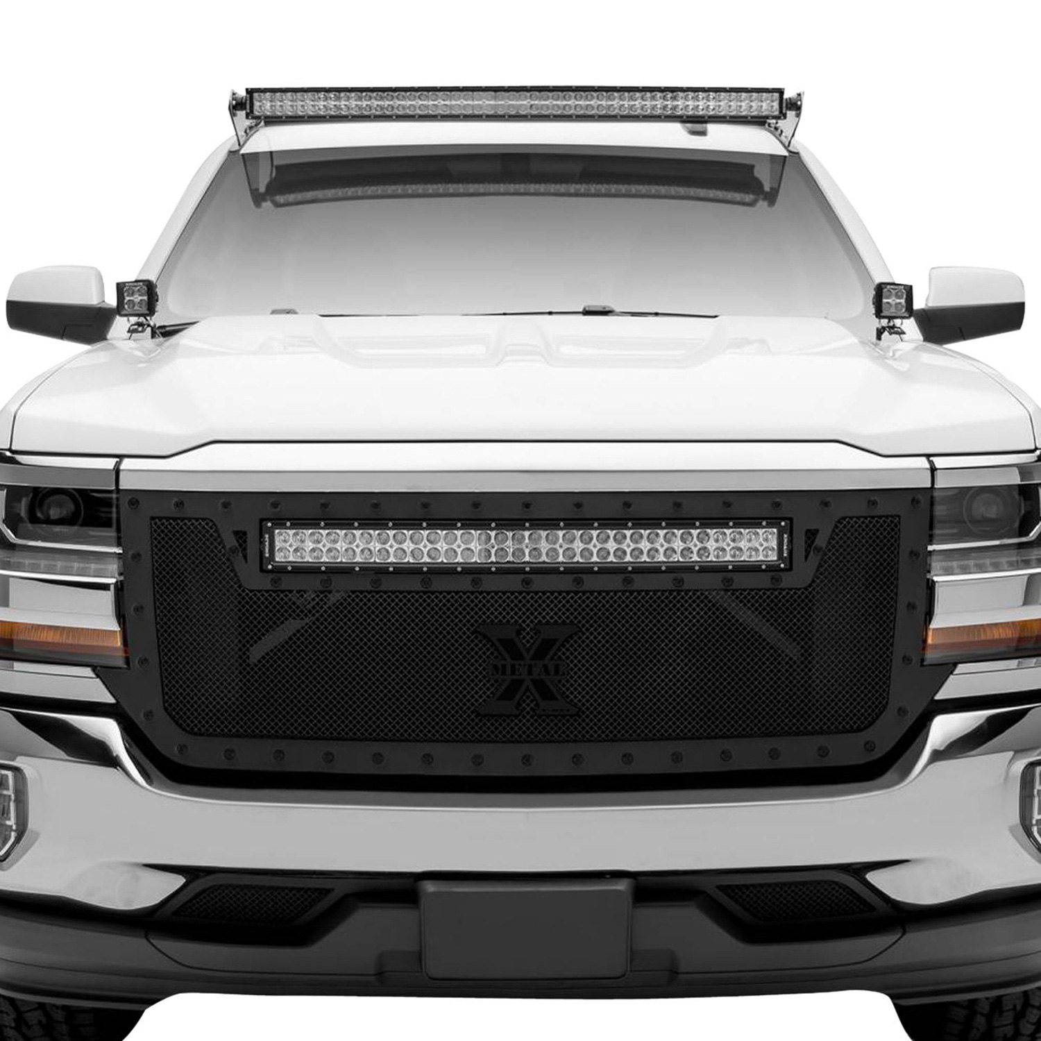 T Rex 1 Pc Stealth Torch Series Black Formed Woven Wire Mesh Main Grille With 1 X 30 Led Light Bar