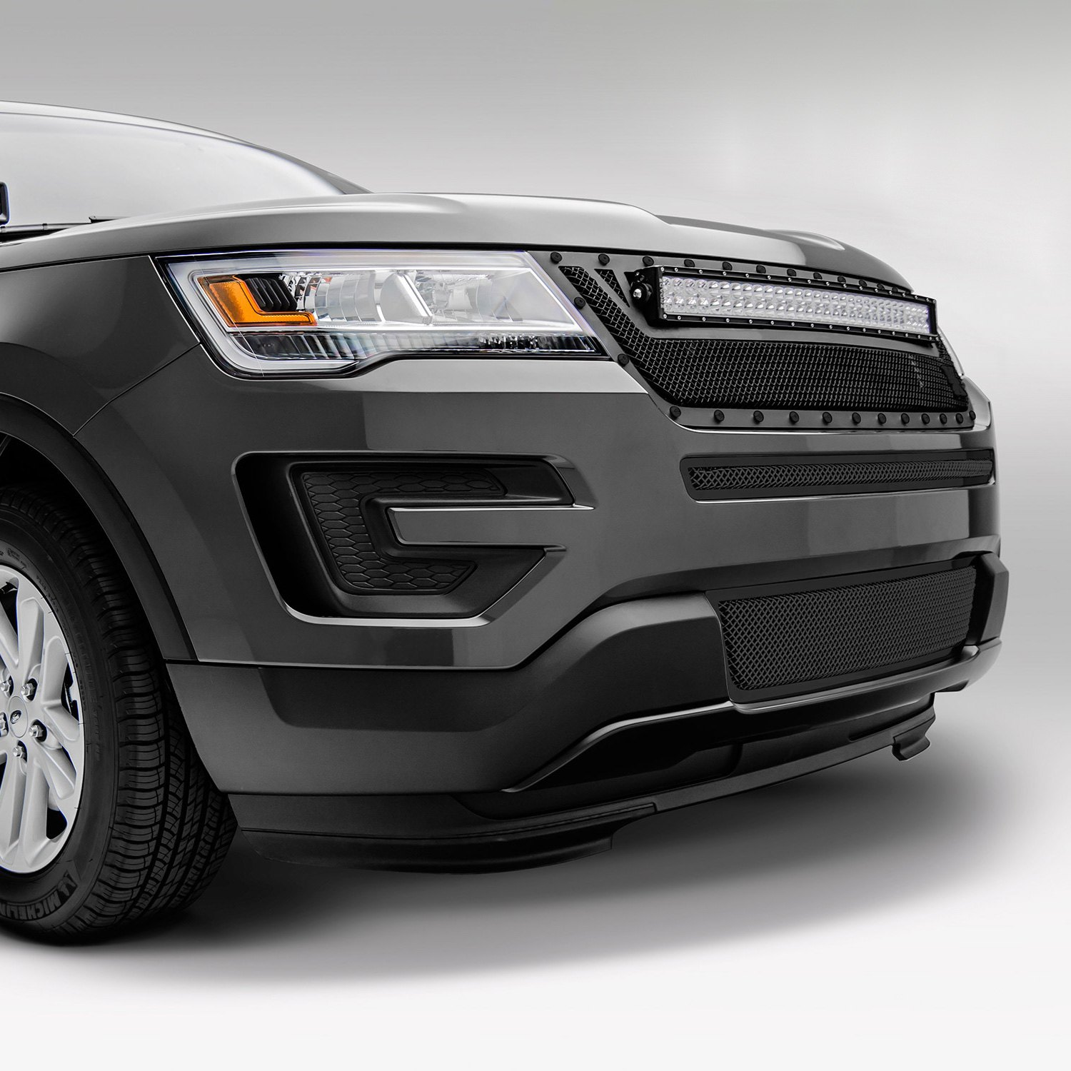 Black Ford Explorer >> T-Rex® - Ford Explorer 2016 1-Pc Stealth Torch Series Black Formed Woven Wire Mesh Main Grille ...